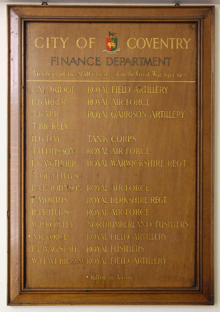 Coventry City Council finance dept memorial