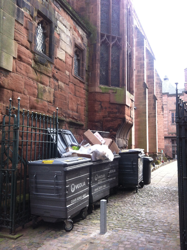 Bins outside St. Mary's Guildhall