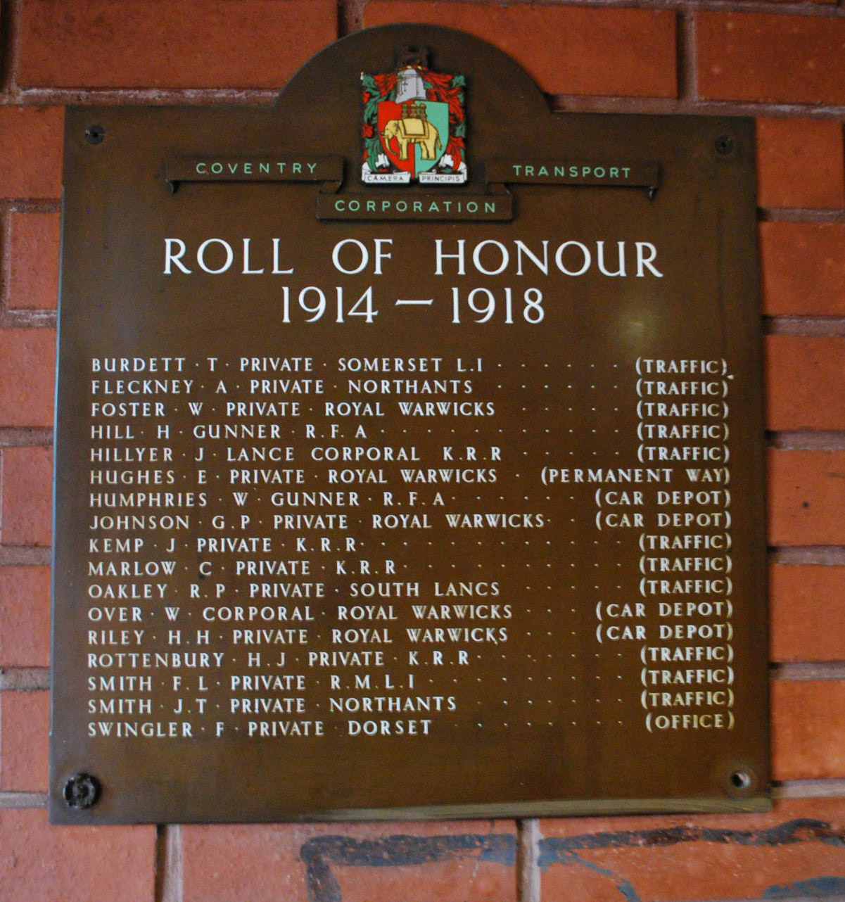 Memorial at Bus Garage