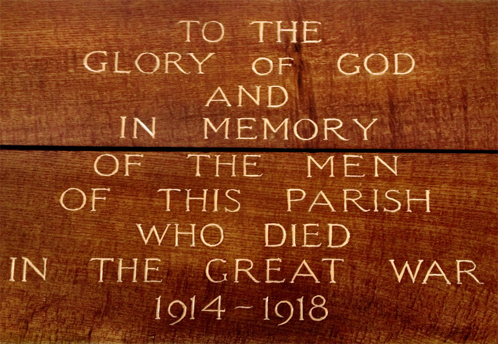 Memorial panel at St. Peter's Hillfields