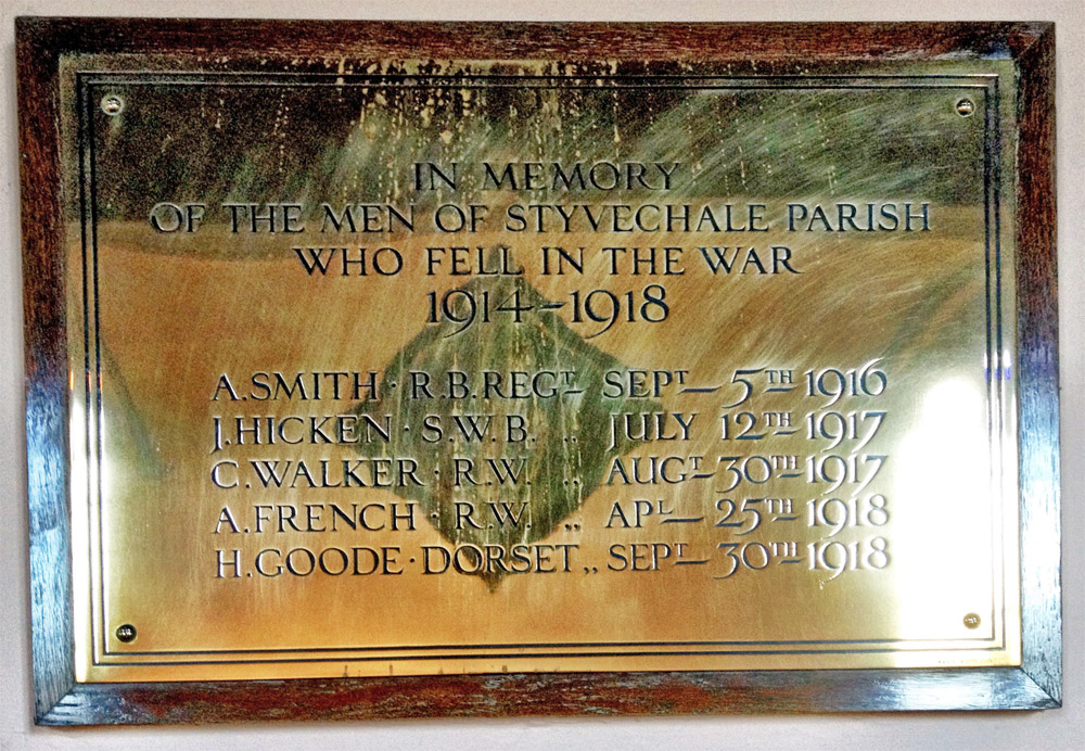 Memorial plaque at St James