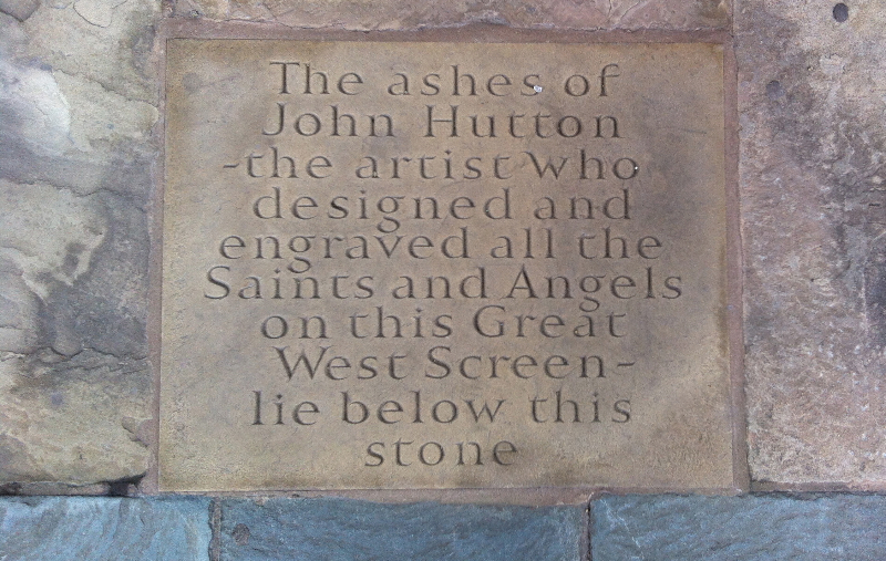 Hutton plaque at Coventry Cathedral