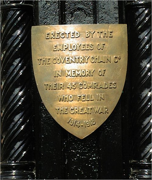 Plaque on Coventry Chain memorial