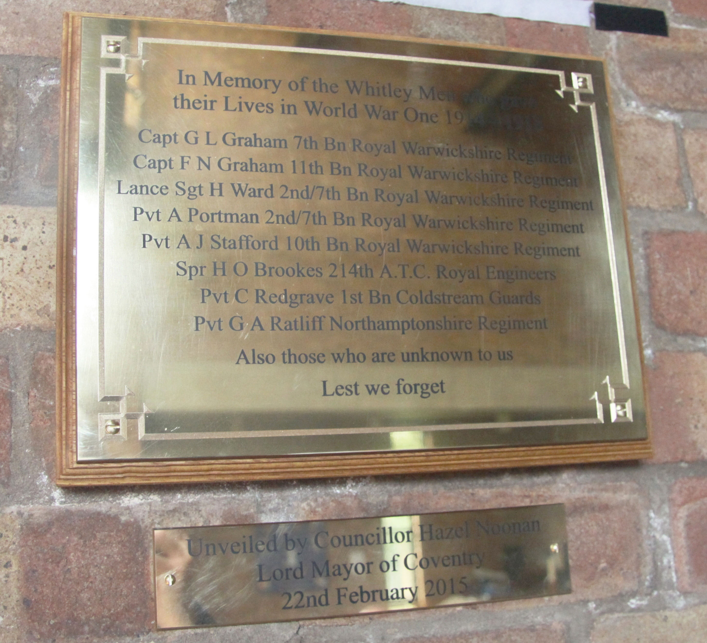 Plaque at St James Whitley