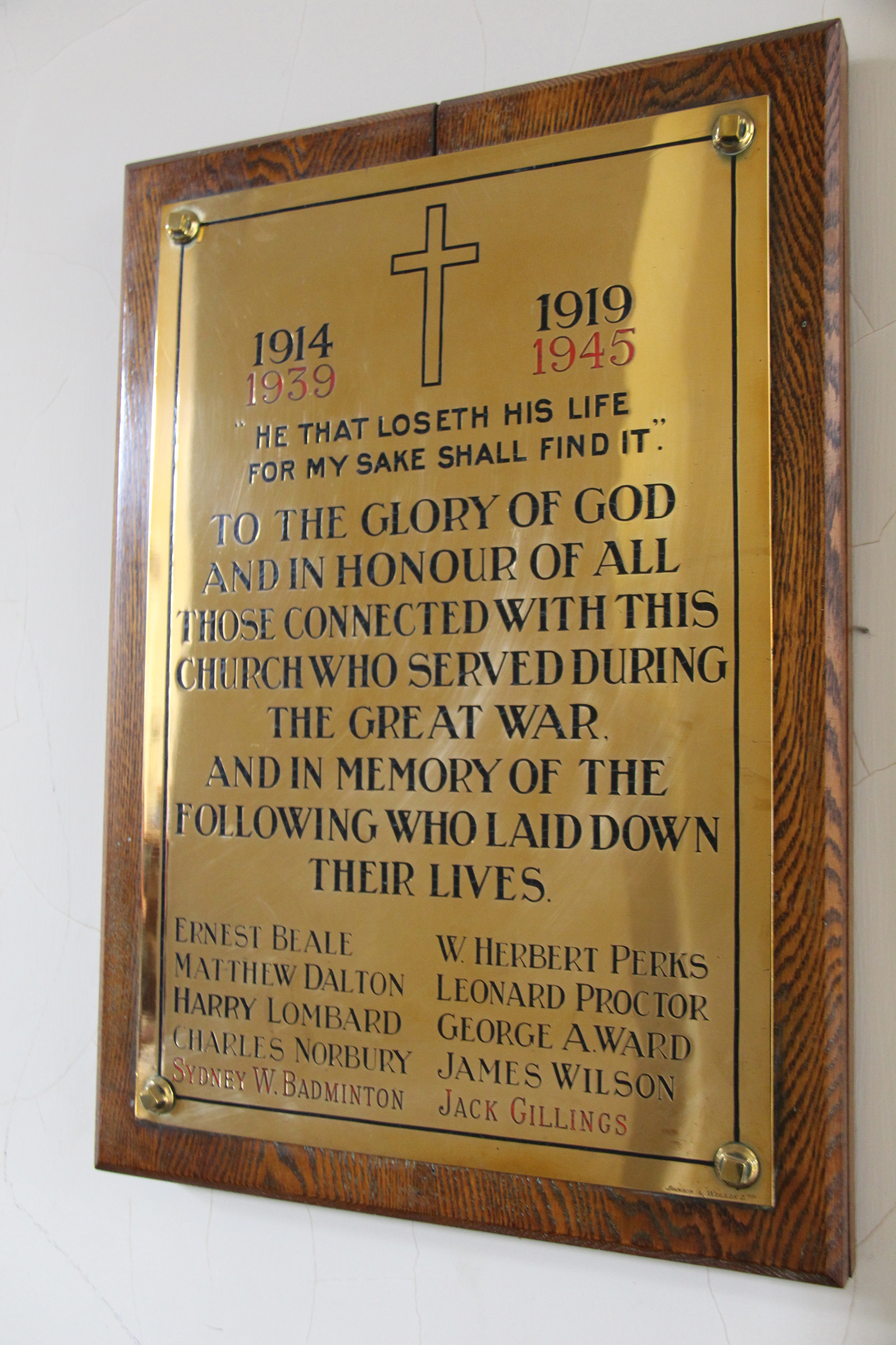 St Pauls Foleshill - memorial plaque