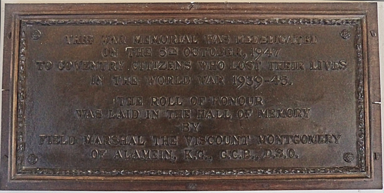 Plaque inside war memorial