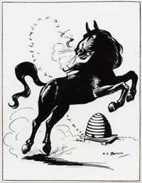 Beehive and black horse cartoon